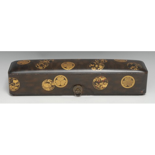3213 - A Japanese laquer rectangular box and cover, decorated in gold makie with mon on a ground of nashiji...