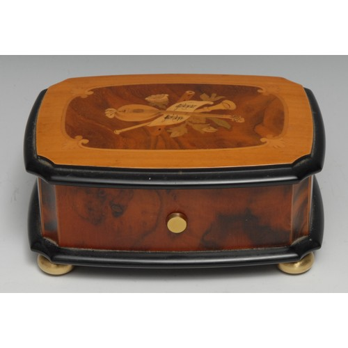 3400 - A Swiss walnut and marquetry music box, by Reuge Music, Sainte-Croix, 4cm cylinder playing No.1886 T...