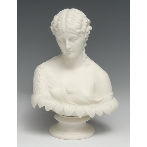 3077 - A 19th century parian ware bust, of Clytie, probably Copeland, after C. Delpech, waisted socle, 30cm...