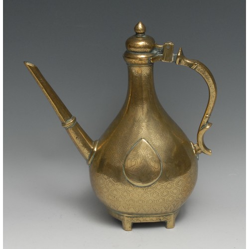 3280 - A Mughal Indian Islamic brass carnation ewer, hinged ogee cover, stylised zoomorphic handle, chased ...