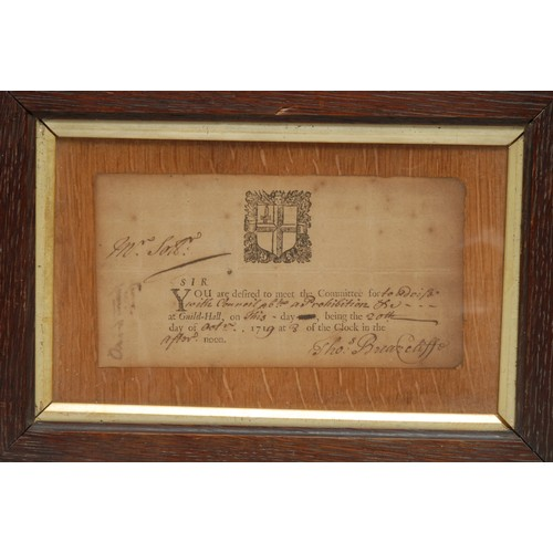 3704 - Political and Legal History - City of London - a George I summons, printed and completed in handwrit...