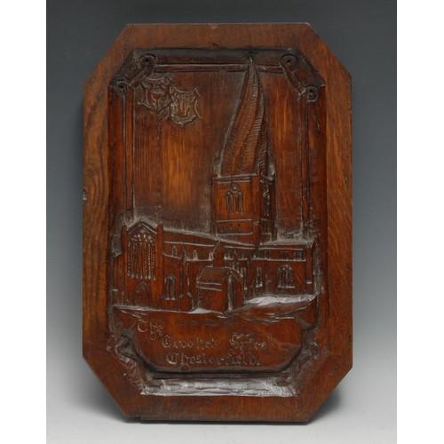3590 - Derbyshire Interest - a late Victorian oak folk art panel, carved in relief with a named view of The...