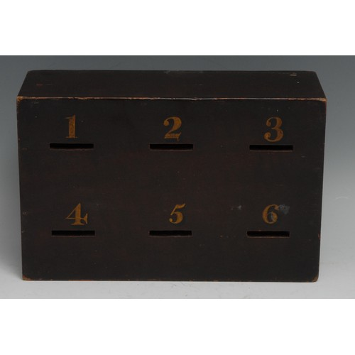 3081 - A 19th century rectangular ballot box, the six apertures numbered in gilt, sliding cover to verso, 2...