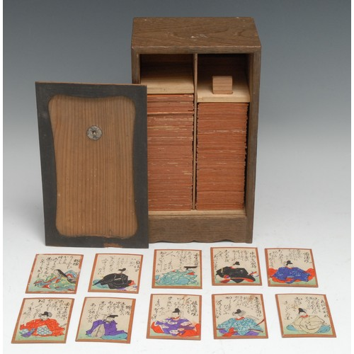 3378 - A set of Japanese Uta-garuta playing cards, composed of the Hyakunin Isshu of the Hundred Poets, eac...