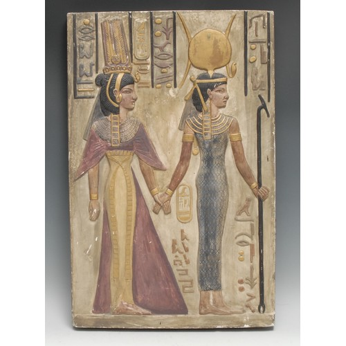 3283 - A museum-type plaster cast, after an Ancient Egyptian stele, picked out in polychrome and gilt, 55cm...
