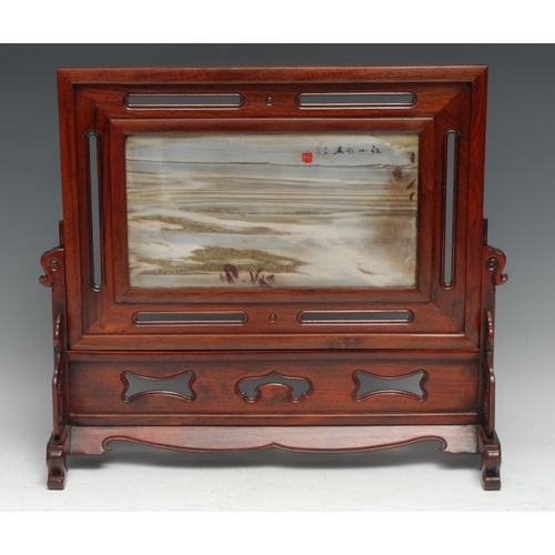 3141 - A Chinese hardwood and dreamstone scholar's table screen, red seal mark and inscribed with verse, th...