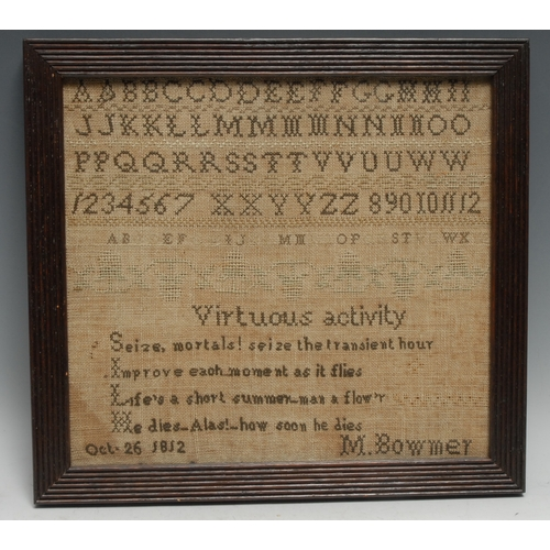 3191 - A George III needlework sampler, by M. Bowmer, Oct. 26. 1812, woked in wool with alphabet and verse,...