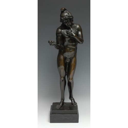 3582 - Continental School, a dark patinated bronze, of Adam, he stands nude but for a Phrygian cap and a fi...