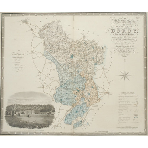4045 - Christopher Greenwood (1786-1855) and John Greenwood (fl.1821-1840), Map of the County of Derby, fro...