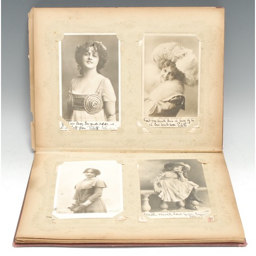 4078 - Postcards, Stage and Screen - a collection of 100 late Victorian and Edwardian postcards, mostly b/w...