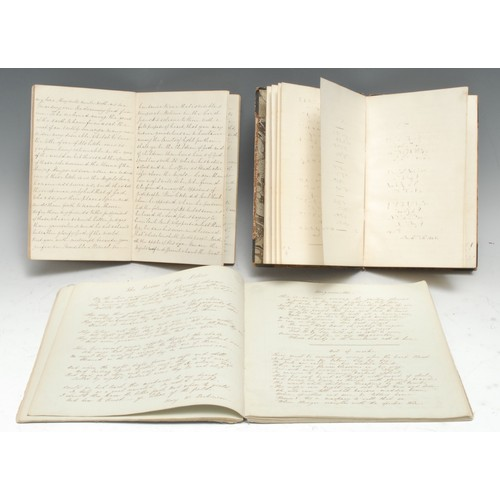 4065 - A 19th century ink manuscript commonplace book, dated 1845, 'topsy-turvy' inscribed with 102pp of se...