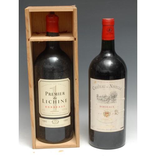 4004 - Two Jeroboams, comprising Premier de Lichine 1995 Bordeaux, 3l, 11.5%, labels good, level at neck, s...