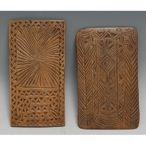 3720 - Treen - a 19th century chip-carved love token, probably Scandinavian, decorated with daisy-wheels an...