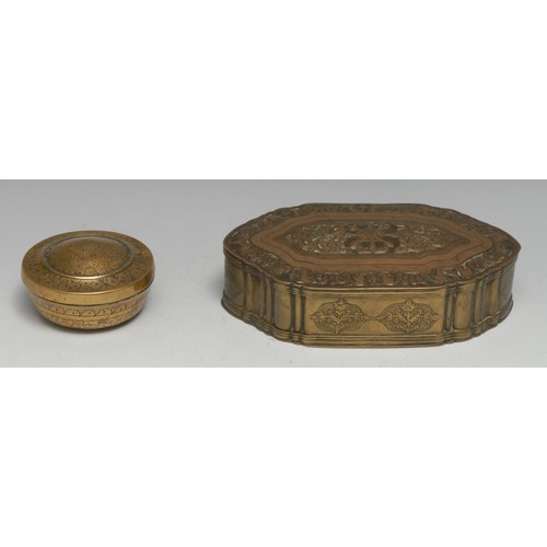 3527 - An Indian brass paan or betel box, chased with stylised birds and scrolling foliage, hinged cover, 1...