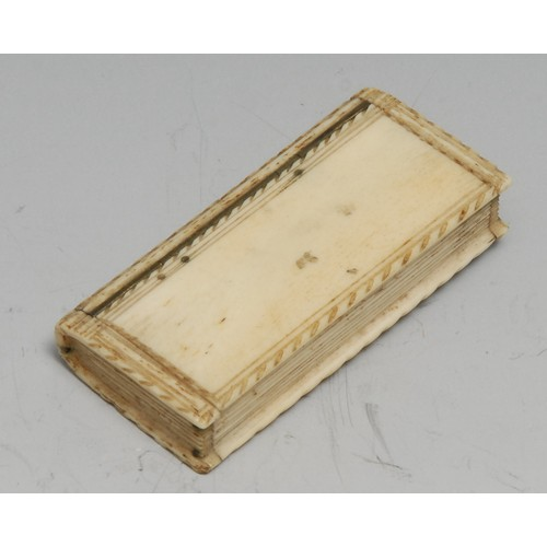 3470 - An early 19th century bone novelty snuff box, as a book, possibly Napoleonic prisoner of war, hinged...