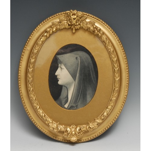 3441 - After Arild Rosenkrantz Head of a Young Woman oval, monochrome watercolour, 16cm x 12, 19th century ...