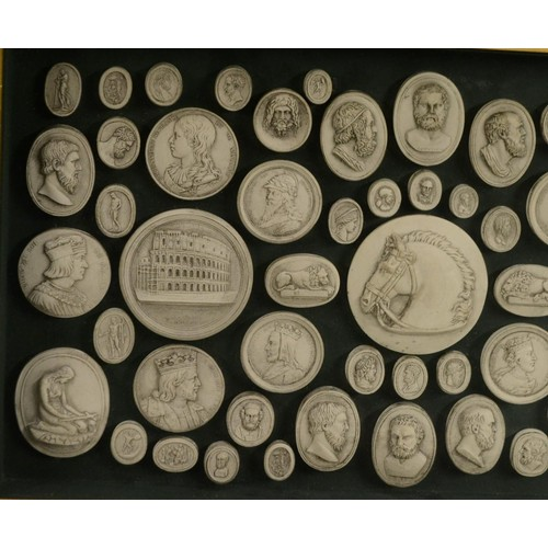 3460 - An arrangement of Grand Tour style plaster intaglio impressions, various Classical and Medieval subj...