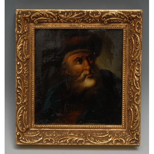 3084 - A 19th century Russian cabinet picture, painted with a bearded elder dressed for winter, lacquered, ...