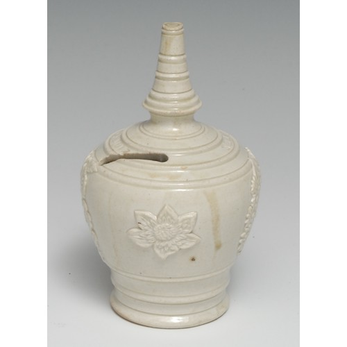 3021 - A 19th century buff-coloured stoneware money box, sprigged with flowers and inscribed Emma Mason, Bo...