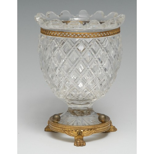 3072 - A 19th century ormolu mounted hobnail-cut glass urnular mantel vase, by F & C Osler, signed, lion pa...
