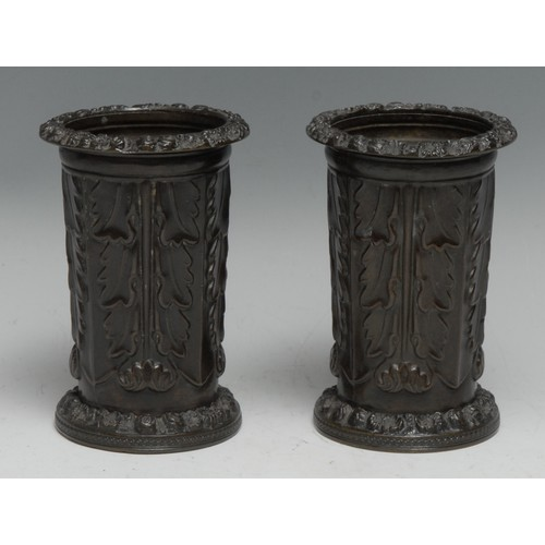 3340 - A pair of Regency brown-patinated bronze mantel specimen vases, cast with acanthus leaves, foliate b...