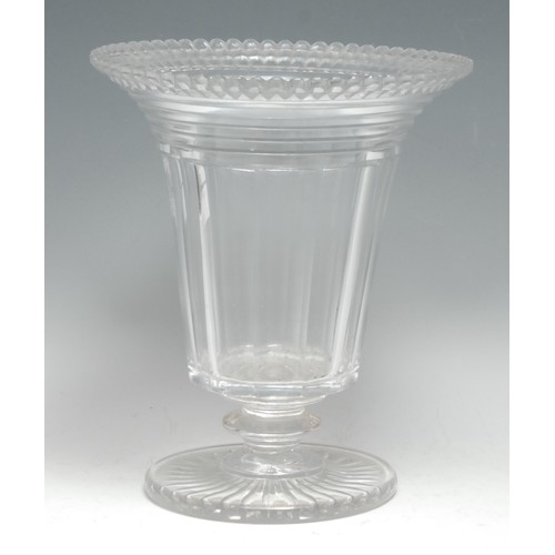 3416 - A Victorian cut glass trumpet-shaped pedestal vase, 21cm high, c. 1860