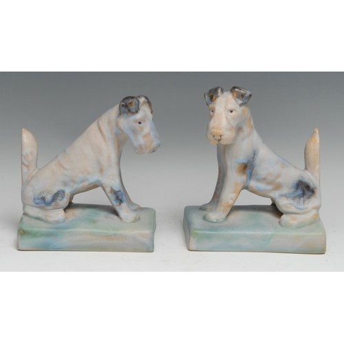 3311 - A pair of Bourne Denby Danesby Ware novelty terrier bookends, designed by Alice Teichtner, glazed in...