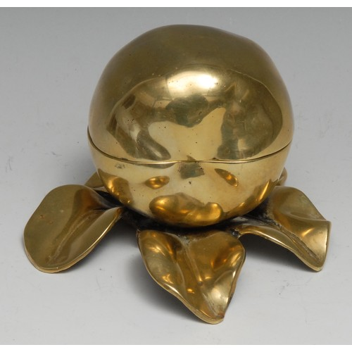3411 - A Victorian brass novelty inkwell, as an apple on a branch, 13cm wide, Rd. No. 131475, c.1890