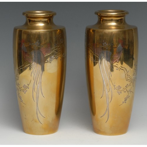 3328 - A pair of Japanese bronze slender ovoid vases, inlaid with cockerels on blossoming branches in tones...
