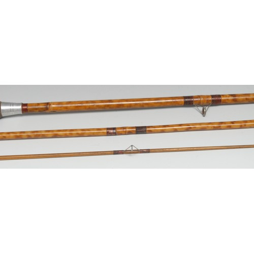 3563 - Angling - a split-cane fishing two-piece fishing rod, by A.E. Rudge & Son, Redditch, 250cm long over...