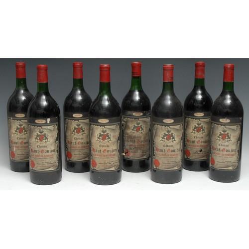 3975 - Eight magnums of Château Haut-Goujon 1975 Lalande-de-Pomerol, 1.48l, labels fair-good, levels at top...