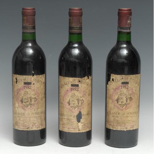 3997 - Three bottles of Château l'Évèque 1982 Lalande-de-Pomerol, 75cl, labels OK-fair, levels at base of n...