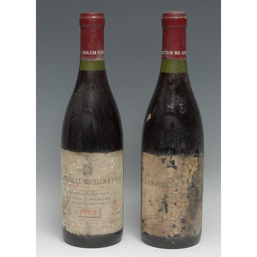 4001 - Two Bottles of Domaine Grivelet 1973 Chambolle-Musigny Premier Cru, 75cl, mixed labels, levels above...