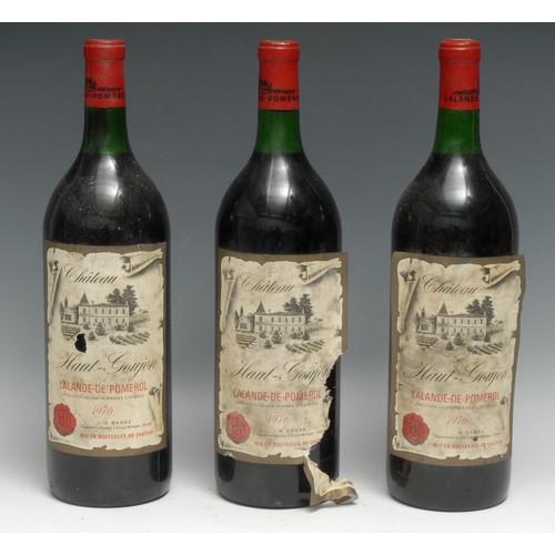 3998 - Three magnums of Château Haut-Goujon 1976 Lalande-de-Pomerol, 1.5l, labels fair, levels at base of n...