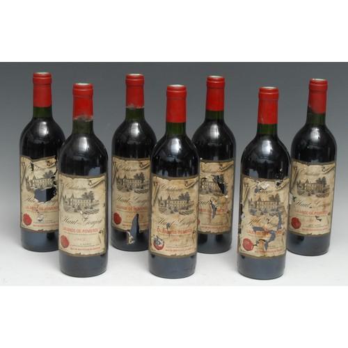 3992 - Seven bottles of Château Haut-Goujon 1983 Lalande-de-Pomerol, 75cl, labels poor-OK, levels at should...