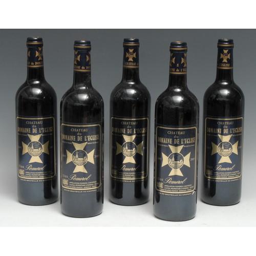 3977 - Five bottles of Château du Domaine de l'Eglise 2005 Pomerol, 750ml, 13.5%, labels good, levels withi...