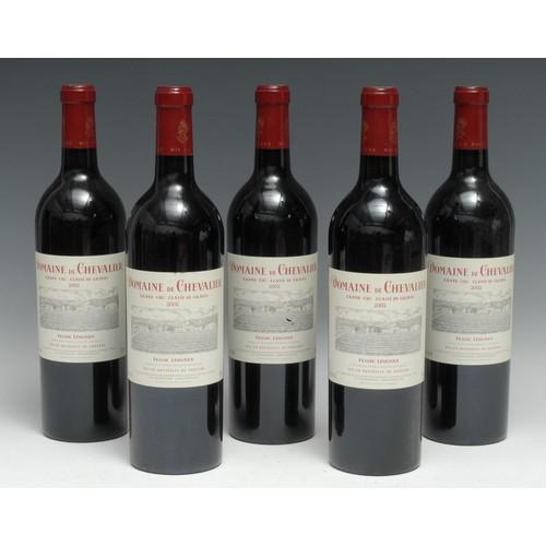 3980 - Five bottles of Domaine de Chevalier 2002 Grand Cru Classé de Graves Pessac Léognan, 750ml, 13%, lab...