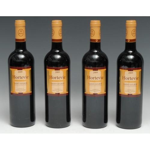 3981 - Four bottles of Hortevie 2009 Saint-Julien, 750ml, 13.5%, labels good, levels mid-neck, seals intact...