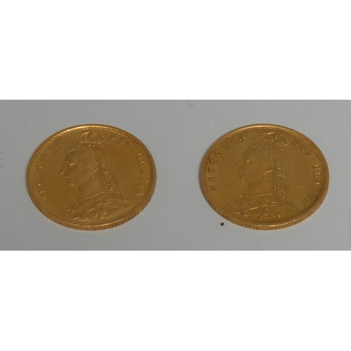 3954 - Coins, GB, Queen Victoria, 1887 Golden Jubilee, two gold half-sovereigns, 8g, [2]