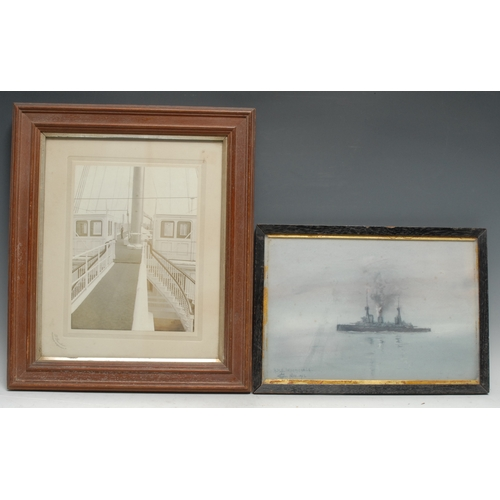 4084 - Maritime and Naval Interest - a sailor's sketch, HMS Indomitable, signed with monogram and dated Nov...