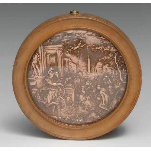 3034 - A 19th century copper roundel, in relief after the workshop of Hans Jakob Bayr with Minerva Presents...