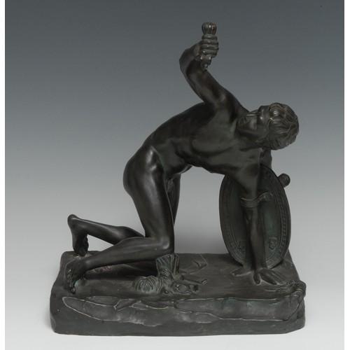 3625 - Grand Tour School (19th century), a verdigris bronze-patinated terracotta sculpture, Statue of a Wou...