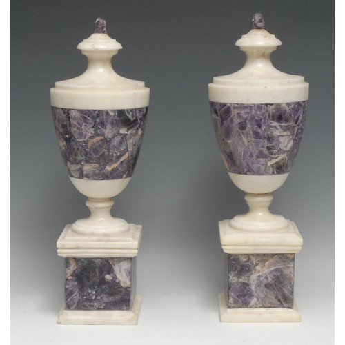 3334 - A pair of Neo-Classical design white marble and amethyst quartz mantel or table urns, square bases, ...