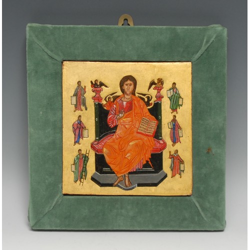 3509 - An Eastern Orthodox icon, painted in polychrome with Christ enthroned, surrounded by saints and hagi...