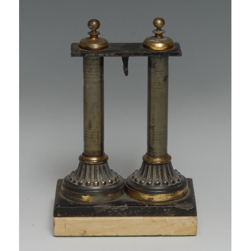 3458 - An architectural double-sided desk top pocket watch stand, as a pair of columns, rectangular marble ...