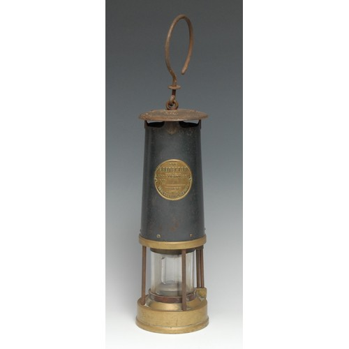 3687 - Mining - a steel and brass miner's shaft lamp, by The Protector Lamp & Lighting Co Ltd, Eccles, Manc...