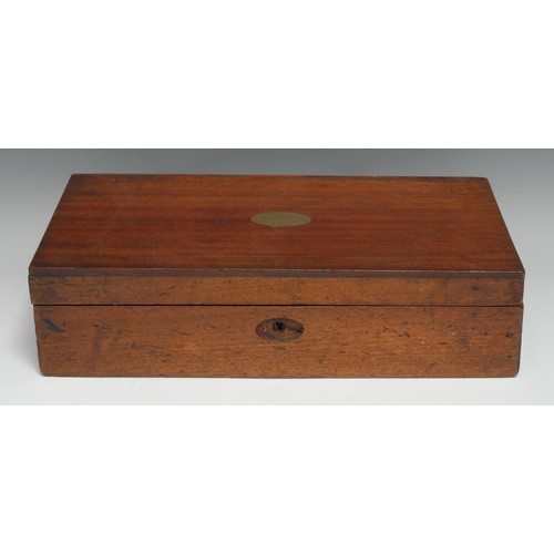 3253 - A late Victorian/Edwardian mahogany games compendium box, hinged cover enclosing an arrangement of p...