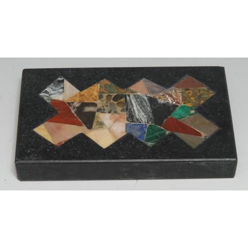 3351 - A pietra dura rectangular desk weight, inlaid with malachite, verde antico marble, lapis lazuli and ...