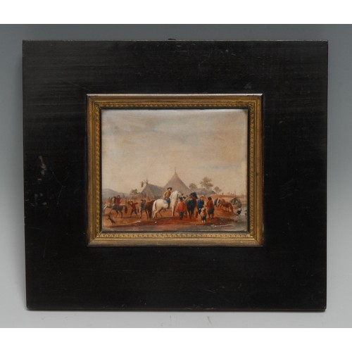 3447 - After Wouwerman (19th century), a miniature, watering horses, watercolour, 8cm x 9.5cm