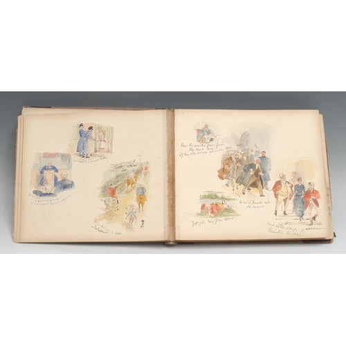 4067 - A late Victorian/Edwardian gentleman's album, illustrated by George, comprising architectural sepia ...